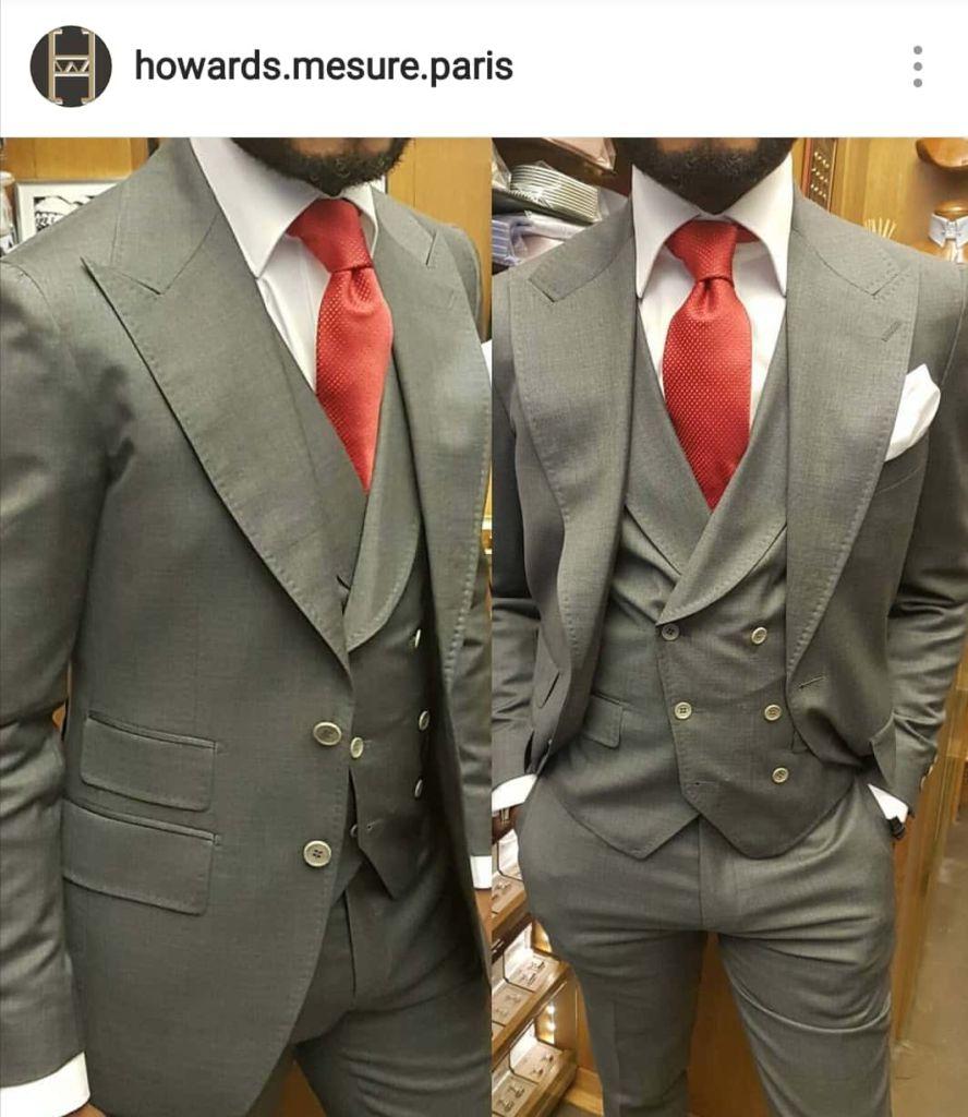 aliexpress 60% de réduction nouveau style de vie Costume 3 pièces + Gilet croisé gris clair - Howard's Costume